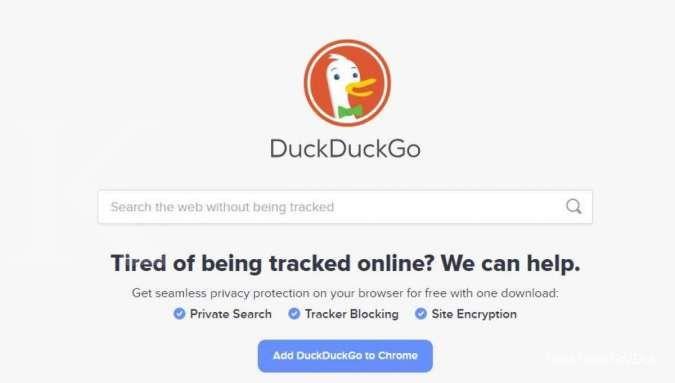 Tampilan situs DuckDuckGo