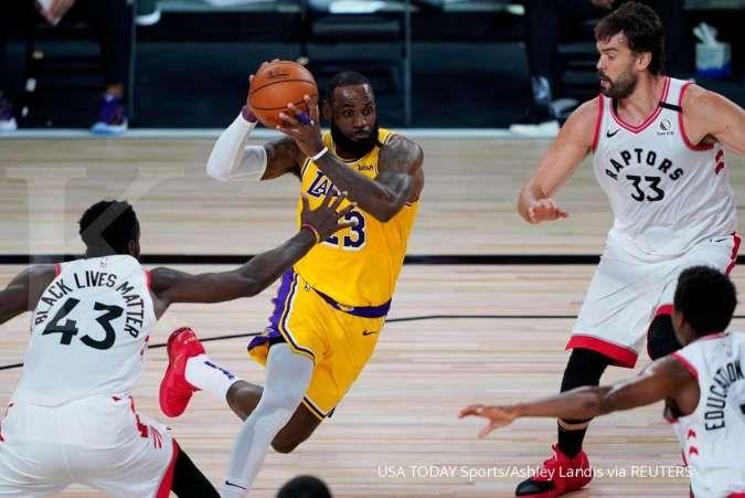 (Pemain Los Angeles Lakers, LeBron James) Pertandingan bola basket NBA di masa pandemi