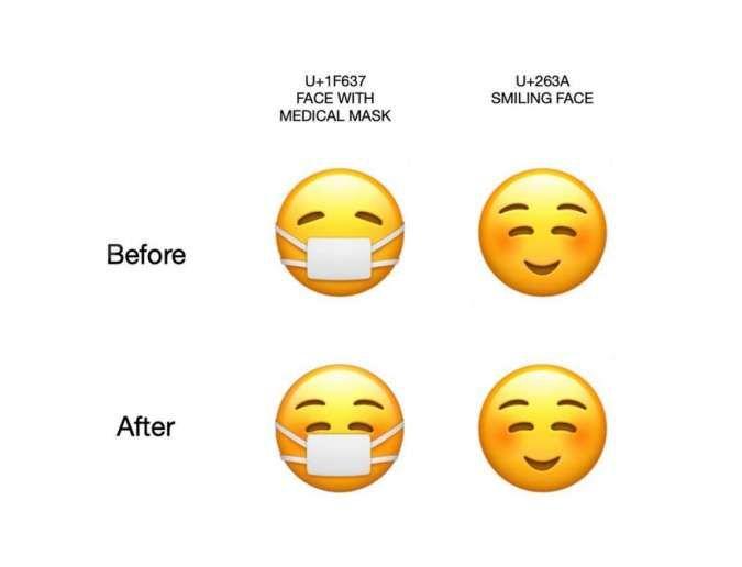 Emoji menggunakan masker terbaru