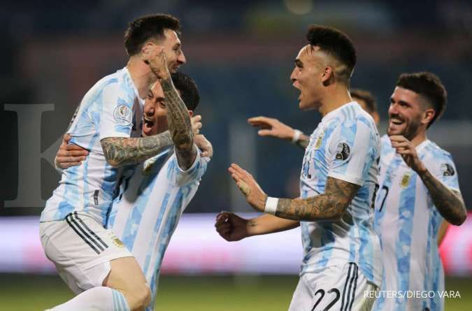 Lionel Messi bersama Timnas Argentina menuju final Copa America 2021