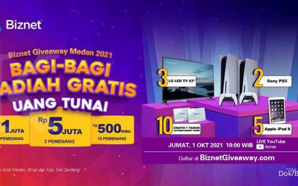 Hadirkan Acara Biznet Giveaway Medan 2021, Biznet Bagikan Hadiah Jutaan Rupiah untuk Warga Medan
