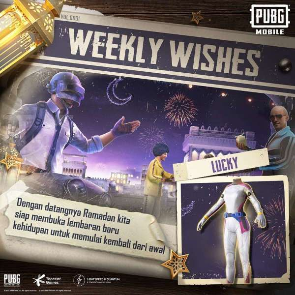 Weekly WIshes PUBG Mobile, kode redeem LUCKY