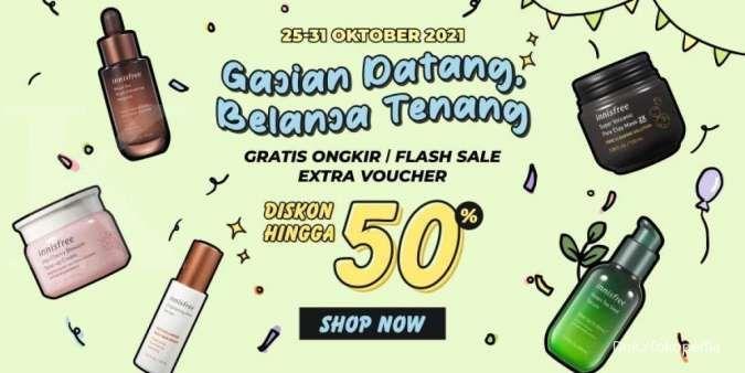 Promo Innisfree Edisi Gajian, Makeup dan Skincare Diskon s/d 50% + Gratis Ongkir