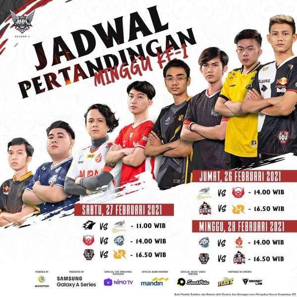 Jadwal pertandingan MPL ID Season 7 Minggu ke-1