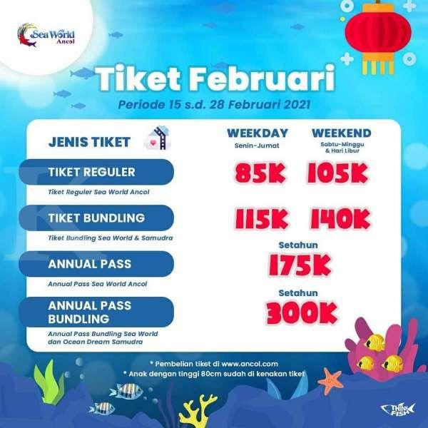 Tiket masuk Sea World Ancol 15-28 Februari 2021