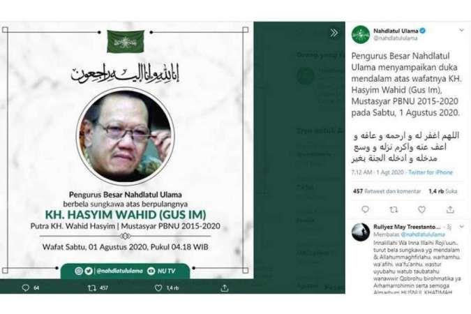 KH Hasyim Wahid, adik bungsu Presiden RI ke-4 Abrudahman Wahid (Gus Dur) yang akrab disapa Gus Im meninggal dunia hari ini, Sabtu (1/8/2020).