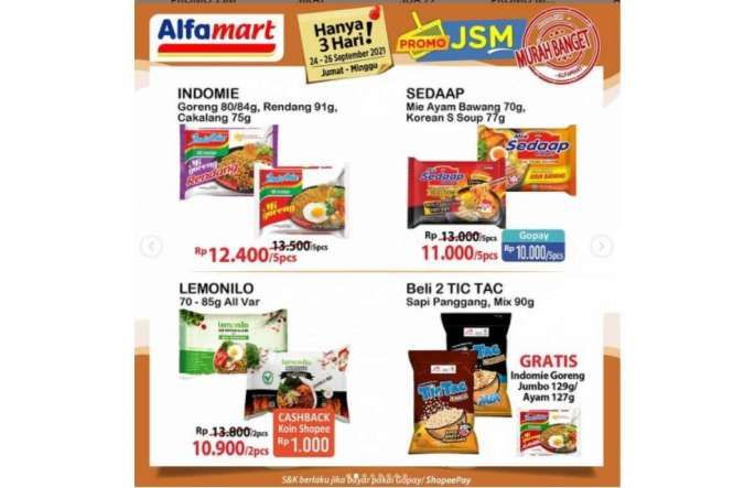 Promo JSM Alfamart 24-26 September 2021, diskon Jumat Sabtu Minggu!