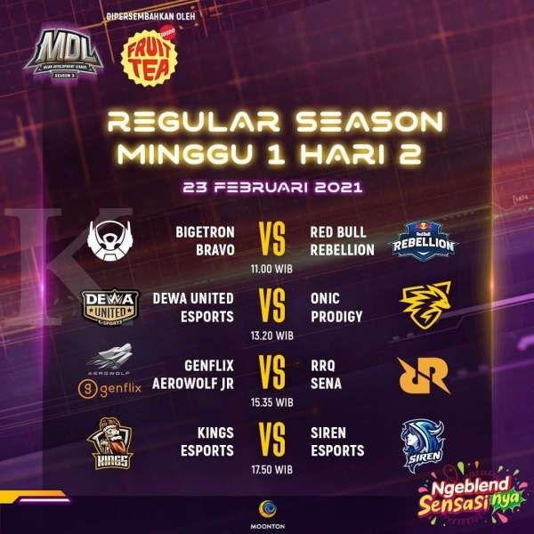 Jadwal MDL Regular Season Minggu 1 Hari ke-2