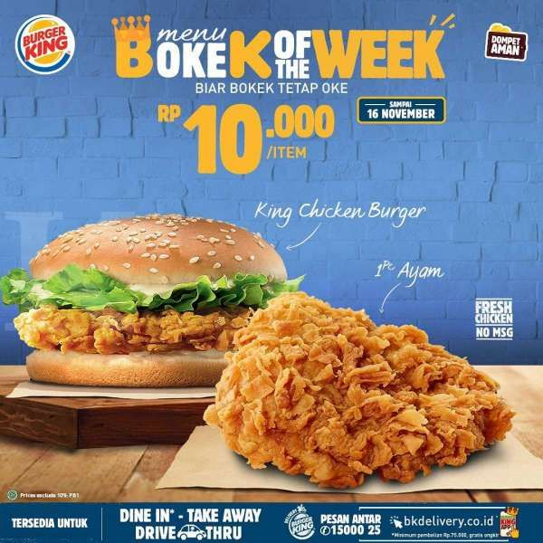 Promo Burger King periode 9-16 November 2020