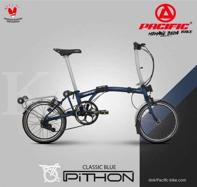 Warna baru, harga sepeda lipat Pacific Pithon classic blue gak bikin kantong kering