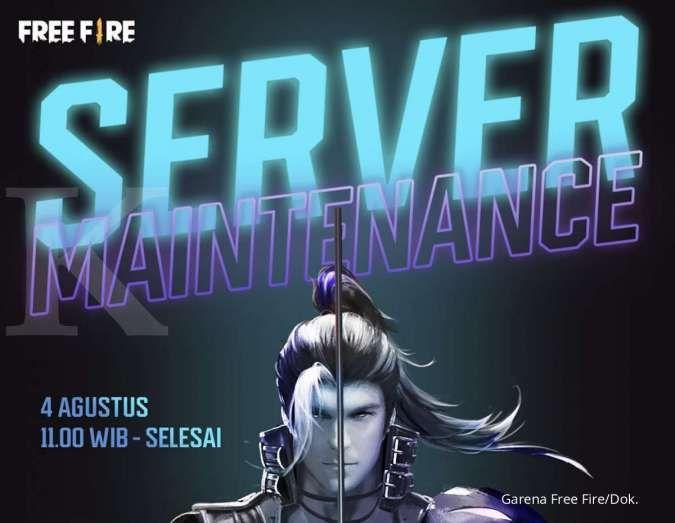 Free Fire (FF) maintenance hari ini, server akan ditutup sementara mulai jam 11