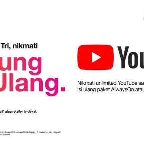Kuota Unlimited untuk Nonton Youtube Hanya dengan Isi Ulang bagi Pelanggan 3 Indonesia