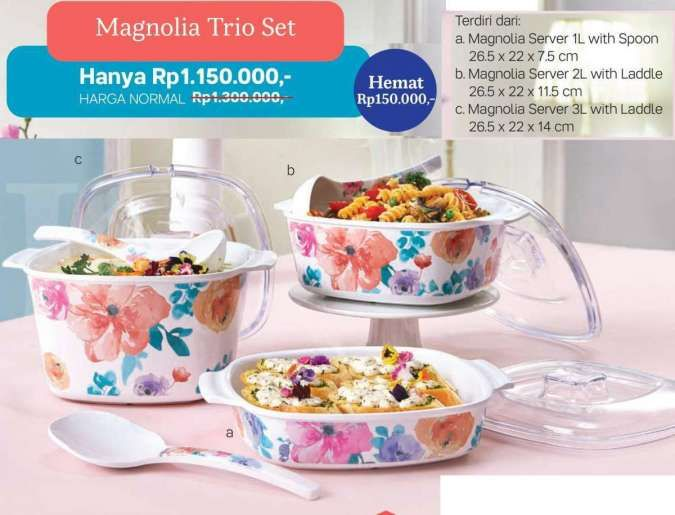 Harga murah Magnolia Set, Moment Cup, Chopstick di promo Tupperware Februari 2021
