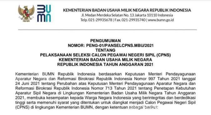 Kementerian BUMN buka pendaftaran CPNS 2021, cek formasi yang dibutuhkan