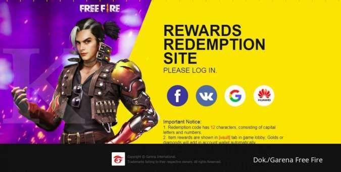 Cara mengaktifkan kode redeem Garena Free Fire di situs reward.ff.garena.com