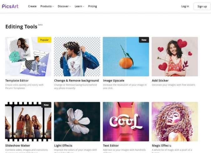 Tampilan PicsArt web
