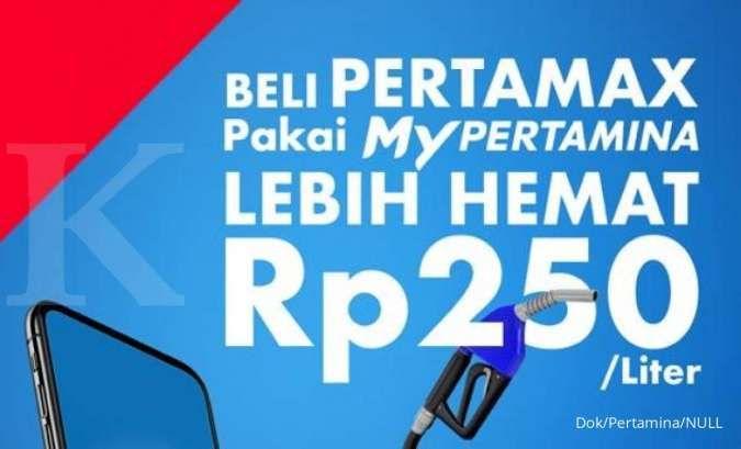 Promo Beli Pertamax Pertamina pakai MyPertamina lebih hemat Rp 250 per liter.