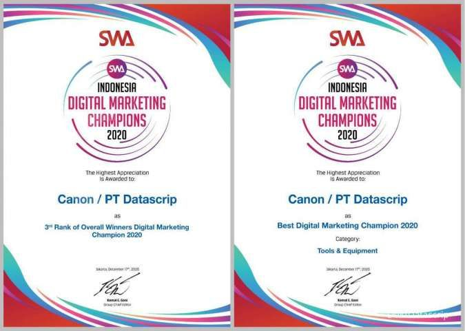 Canon Raih Penghargaan Indonesia Digital Marketing Champions 2020