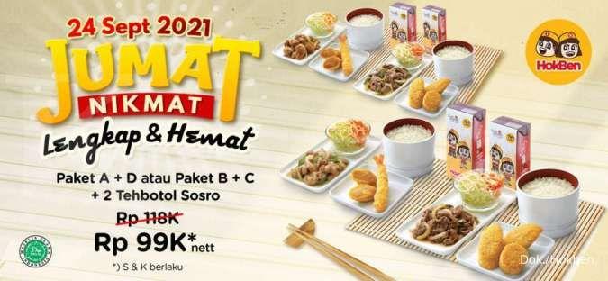 Promo Hokben 24 September 2021, Jumat Nikmat 2 Paket Makan & Minum Rp 99.000