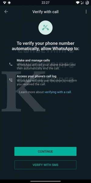 Flash calls WhatsApp