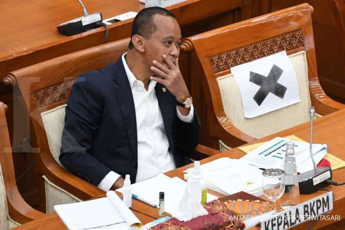 Kepala Badan Koordinasi Penanaman Modal (BKPM) Bahlil Lahadalia mengikuti rapat kerja bersama Komisi VI DPR di Kompleks Parlemen Senayan, Jakarta, Kamis (27/8/2020).