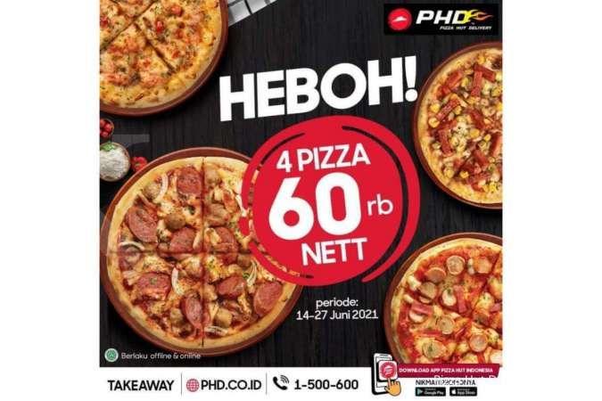 Promo Pizza Hut Delivery 23 Juni 2021, 4 Pizza Heboh hanya Rp 60.000