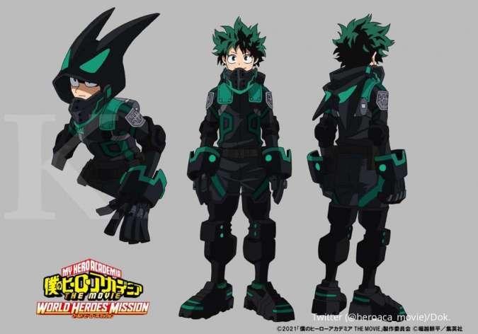 Inilah penampakan kostum baru Stealth Suit di film anime My Hero Academia terbaru