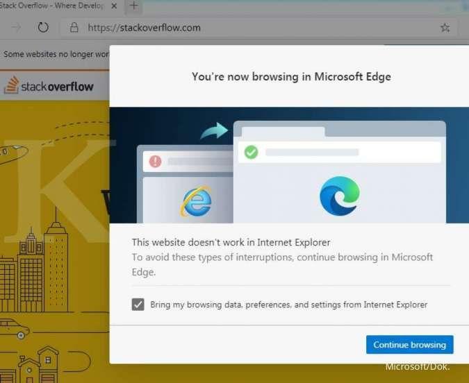 Notifikasi ketika membuka situs di Internet Explorer dialihkan ke Microsoft Edge