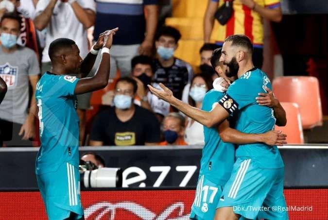 Hasil La Liga Spanyol Valencia vs Real Madrid: Los Blancos bekuk Los Che 1-2
