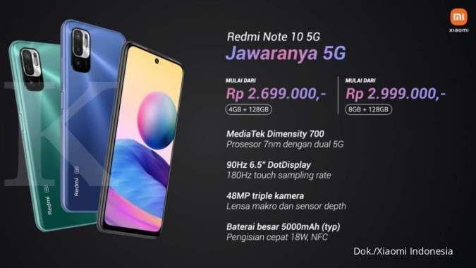 Spesifikasi dan harga HP Redmi Note 10 5G