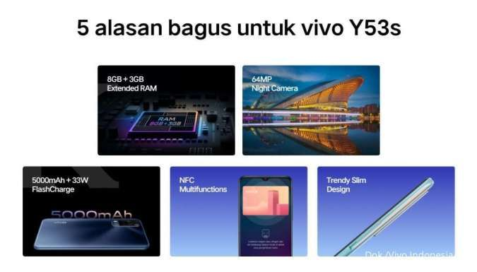 Harga HP Vivo Y53s hanya Rp 3 jutaan, berikut spesifikasi lengkapnya