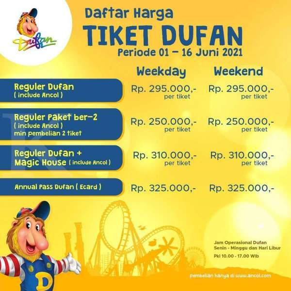 Harga tiket masuk Dufan 1-16 Juni 2021