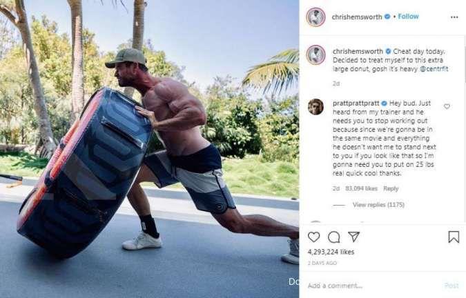 Komentar lucu Chris Pratt yang akan bertemu Chris Hemsworth di film Thor 4 atau Thor: Love and Thunder.