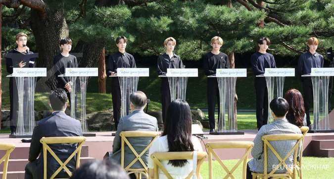 Anggota BTS di Istana Kepresidenan Blue House Korea Selatan