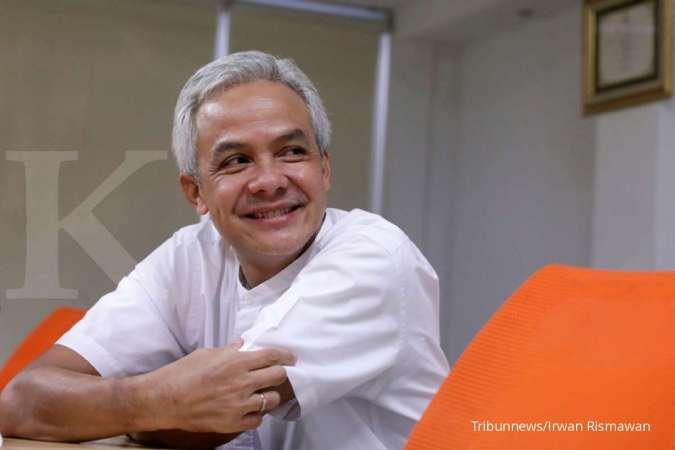 Gubernur Jawa Tengah, Ganjar Pranowo saat menyambangi kantor Tribun Network, Jakarta Pusat, Rabu (12/8/2020). Tribunnews/Irwan Rismawan