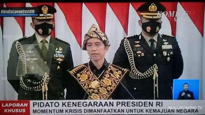 Presiden Joko Widodo saat menyampaikan pidato kenegaraan di Sidang Tahunan MPR/DPR, Jumat (14/8)