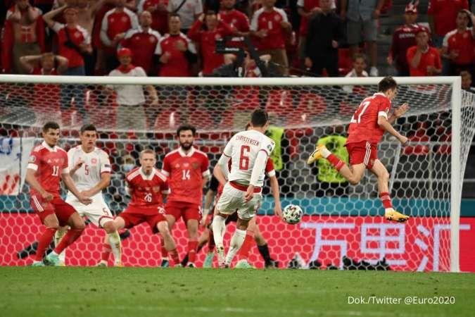 Hasil Euro 2020 Rusia vs Denmark berakhir dengan skor 1-4 di Grup B