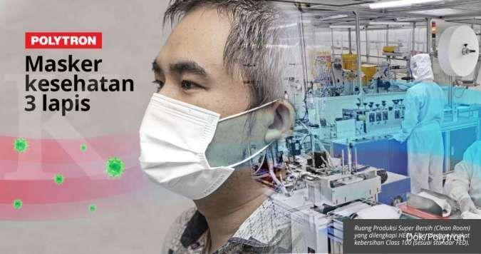 Produsen elektronik Polytron produksi masker tiga lapis berstandar internasional