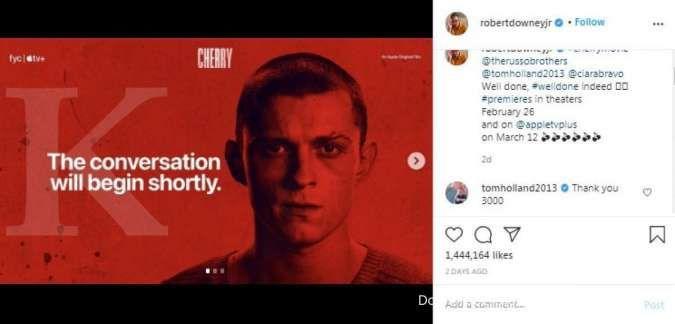 Film terbaru Tom Holland yang berjudul Cherry didukung Robert Downey Jr.