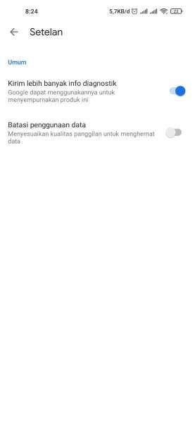 Tampilan menu pengaturan di Google Meet untuk mengaktifkan fitur penghemat data