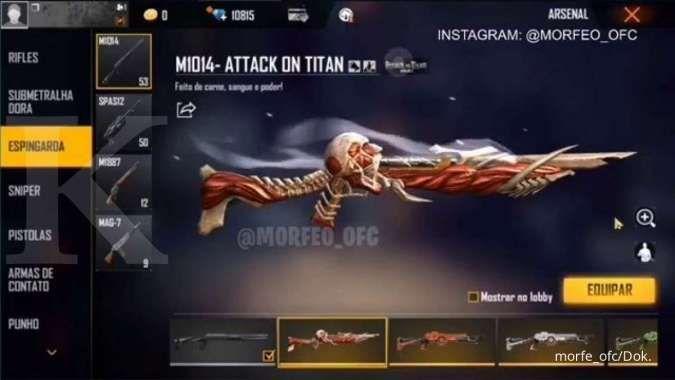 Penasaran? Ini bocoran skin Shotgun Titan kolaborasi Attack on Titan x Free Fire