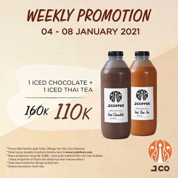 Promo J.CO periode 4-8 Januari 2021, dua botol J.Coffee Rp 110.000 saja!