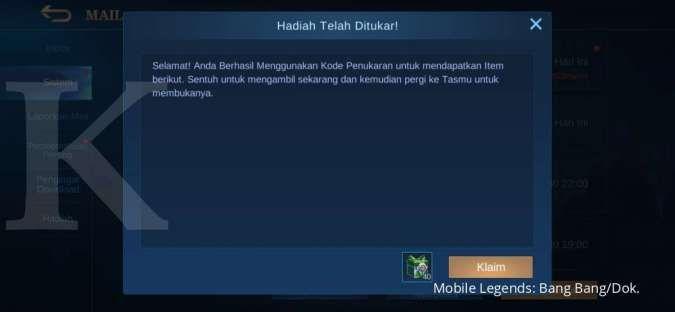 Hadiah kode redeem Mobile Legends