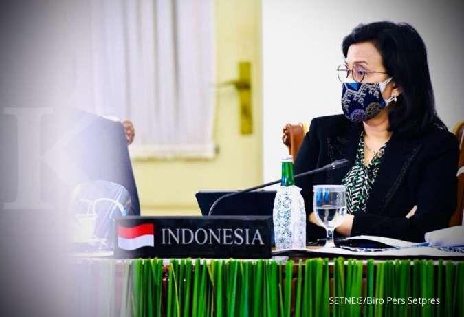 Menteri Keuangan Sri Mulyani Indrawati mengikutipertemuan KTT G20 tahun 2020 secara virtual dari Istana Kepresidenan Bogor, 22 November 2020.